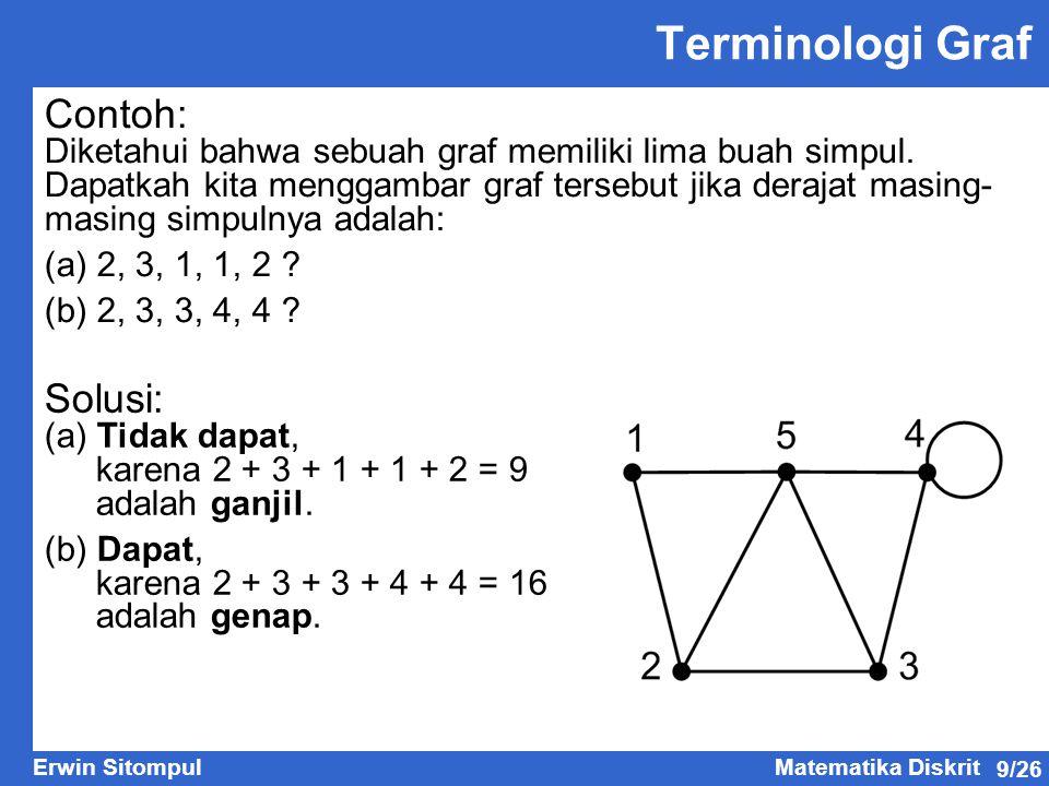 9/26 Erwin SitompulMatematika Diskrit Contoh: Diketahui bahwa sebuah graf memiliki lima buah simpul.