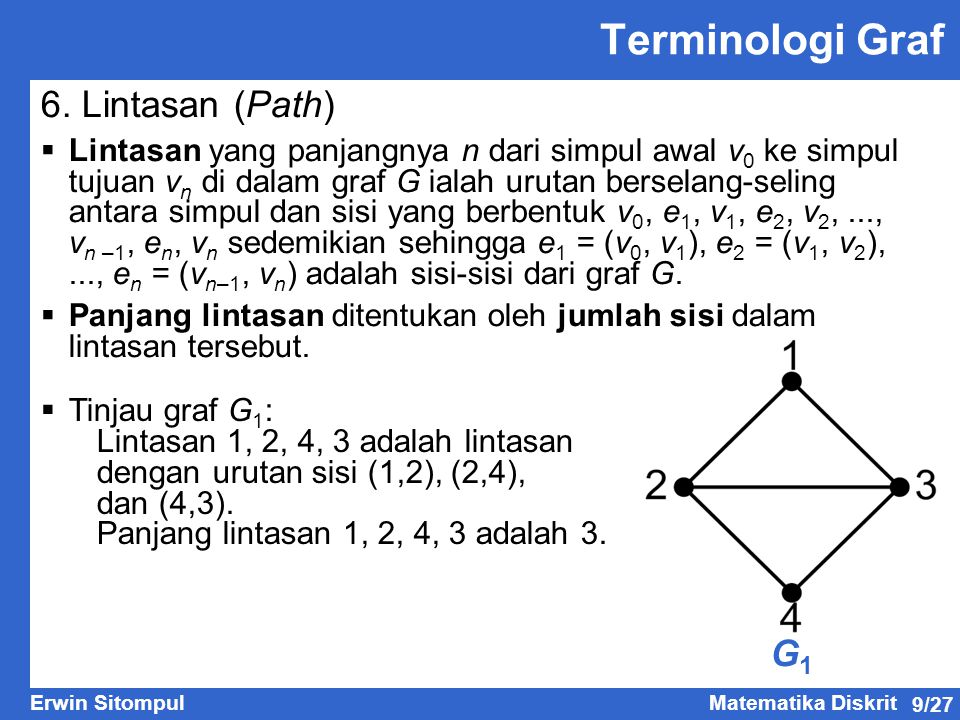 9/27 Erwin SitompulMatematika Diskrit G1G1 Terminologi Graf 6.