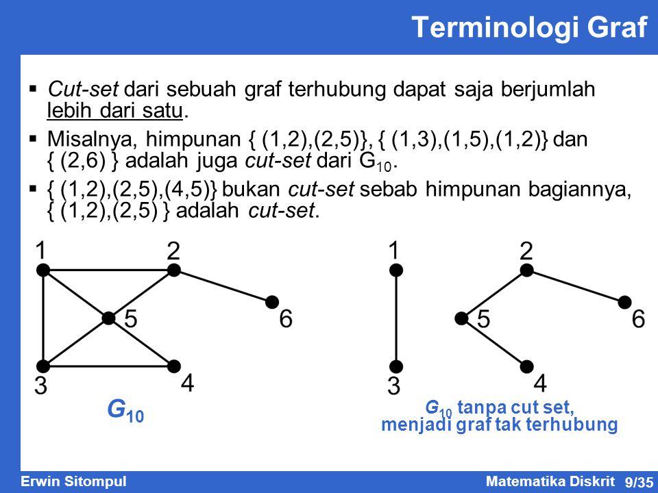 9/35 Erwin SitompulMatematika Diskrit Terminologi Graf  Cut-set dari sebuah graf terhubung dapat saja berjumlah lebih dari satu.