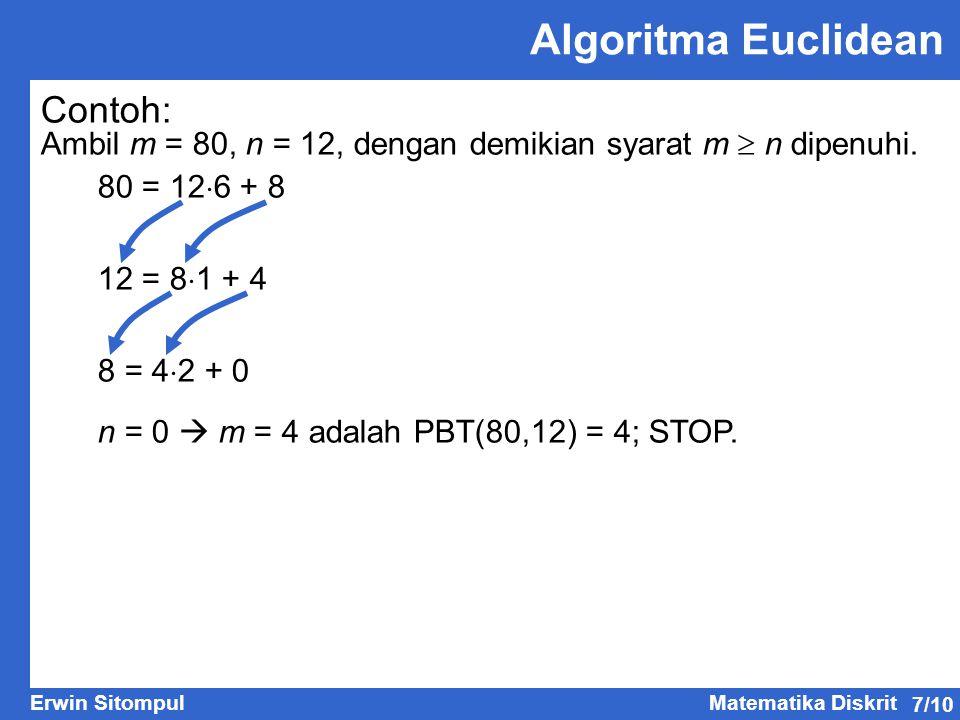 7/10 Erwin SitompulMatematika Diskrit Contoh: Ambil m = 80, n = 12, dengan demikian syarat m  n dipenuhi. 80 = 12  6 + 8 12 = 8  1 + 4 8 = 4  2 +