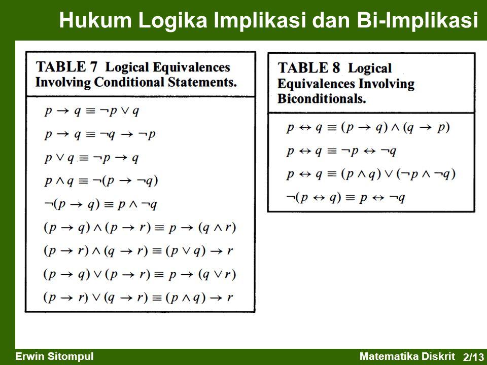 2/13 Erwin SitompulMatematika Diskrit Hukum Logika Implikasi dan Bi-Implikasi