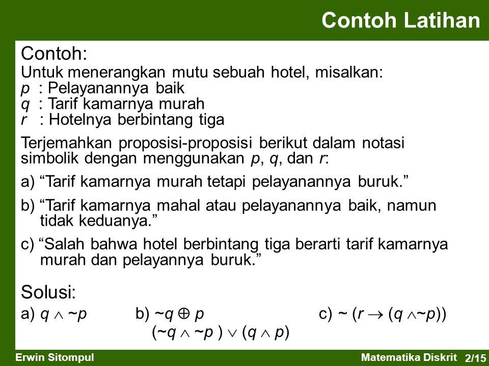 2/15 Erwin SitompulMatematika Diskrit Contoh: Untuk menerangkan mutu sebuah hotel, misalkan: p : Pelayanannya baik q : Tarif kamarnya murah r : Hoteln