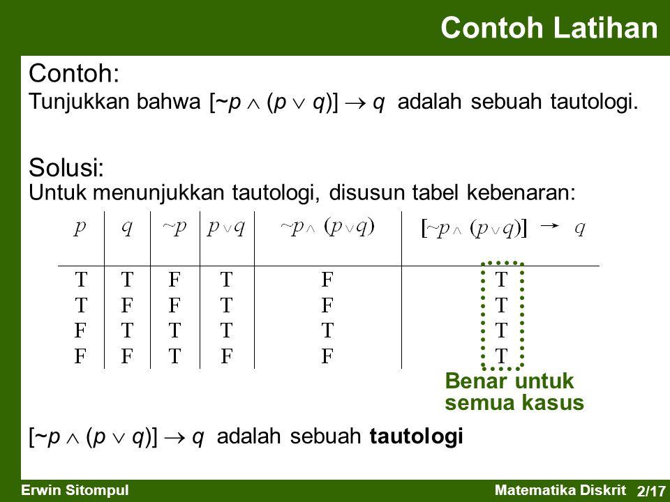 2/17 Erwin SitompulMatematika Diskrit Contoh Latihan Contoh: Tunjukkan bahwa [~p  (p  q)]  q adalah sebuah tautologi. Solusi: Untuk menunjukkan tau