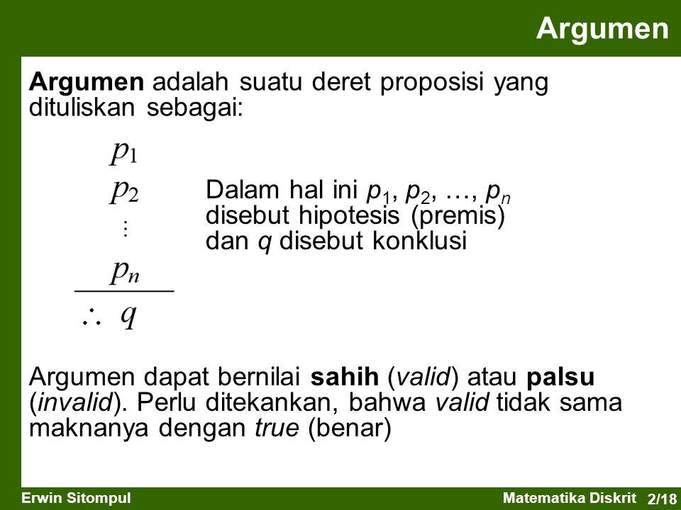 2/18 Erwin SitompulMatematika Diskrit Argumen Argumen adalah suatu deret proposisi yang dituliskan sebagai: Dalam hal ini p 1, p 2, …, p n disebut hip