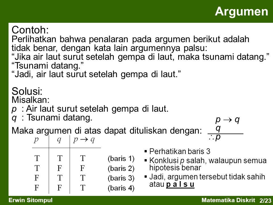 2/23 Erwin SitompulMatematika Diskrit Contoh: Perlihatkan bahwa penalaran pada argumen berikut adalah tidak benar, dengan kata lain argumennya palsu: