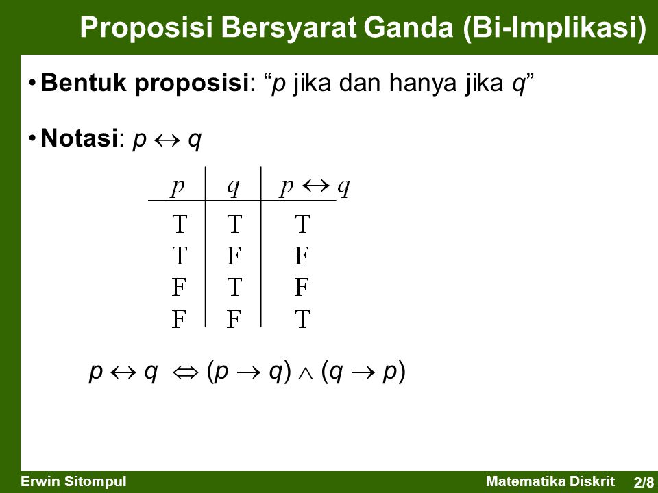"""2/8 Erwin SitompulMatematika Diskrit Proposisi Bersyarat Ganda (Bi-Implikasi) Bentuk proposisi: """"p jika dan hanya jika q"""" Notasi: p  q p  q  (p  q"""