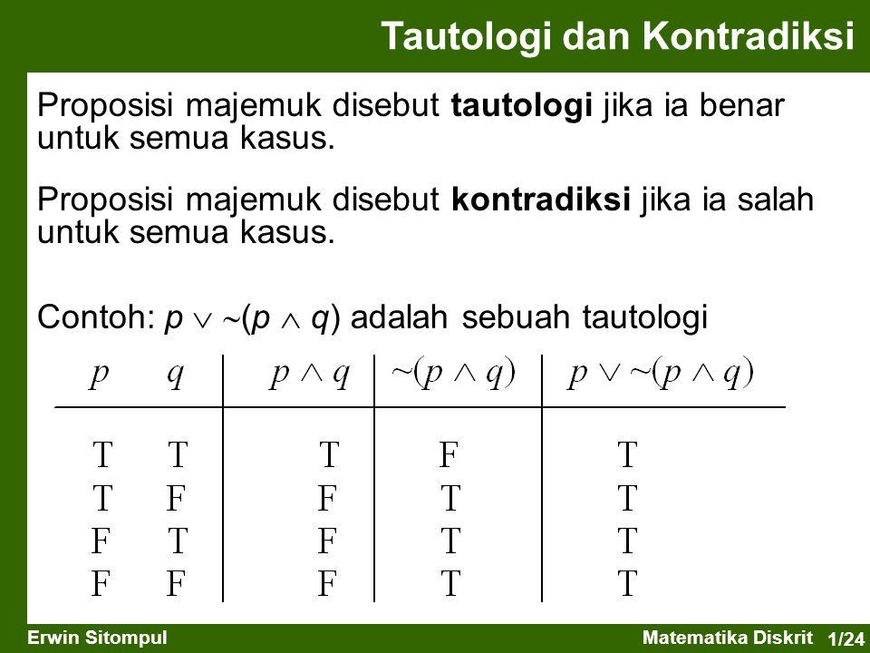 1/24 Erwin SitompulMatematika Diskrit Proposisi majemuk disebut tautologi jika ia benar untuk semua kasus. Proposisi majemuk disebut kontradiksi jika