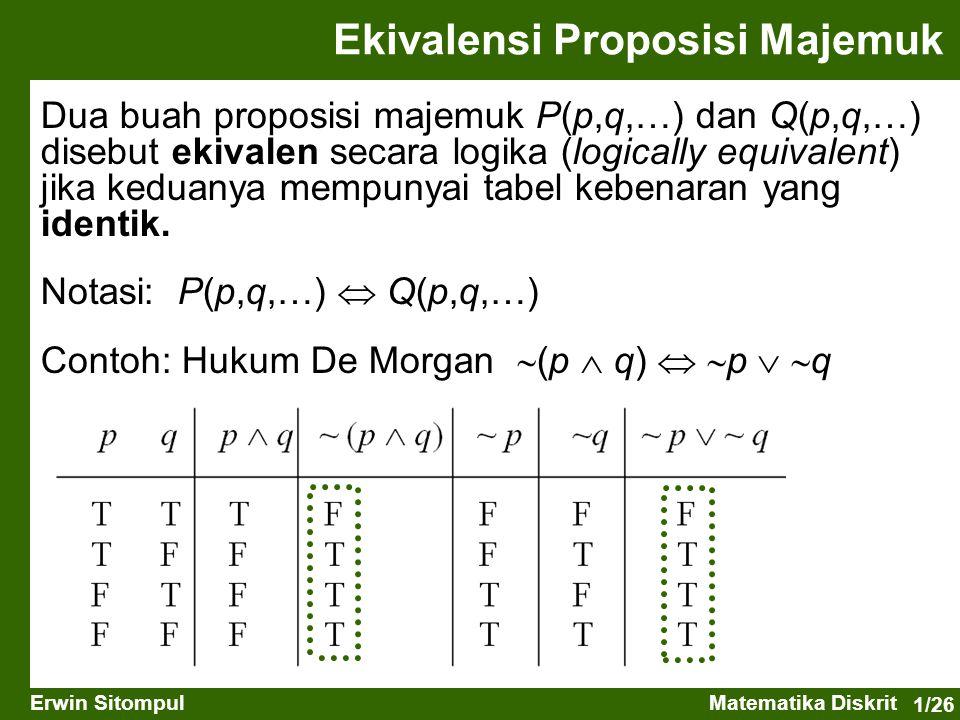 1/26 Erwin SitompulMatematika Diskrit Ekivalensi Proposisi Majemuk Dua buah proposisi majemuk P(p,q,…) dan Q(p,q,…) disebut ekivalen secara logika (lo