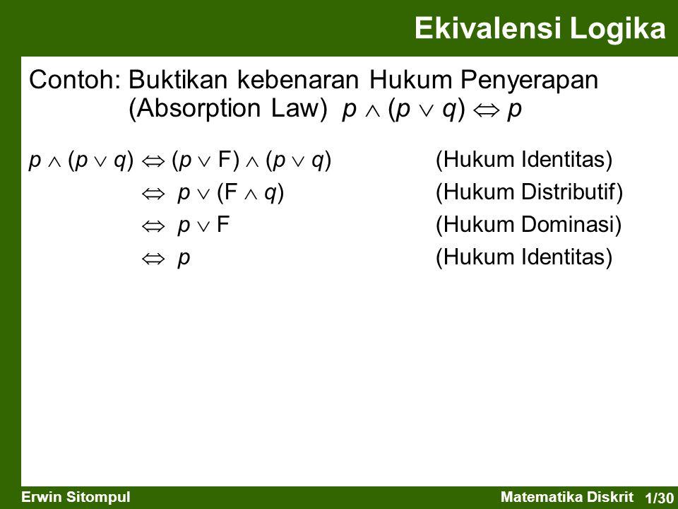 1/30 Erwin SitompulMatematika Diskrit Contoh: Buktikan kebenaran Hukum Penyerapan (Absorption Law) p  (p  q)  p Ekivalensi Logika p  (p  q)  (p