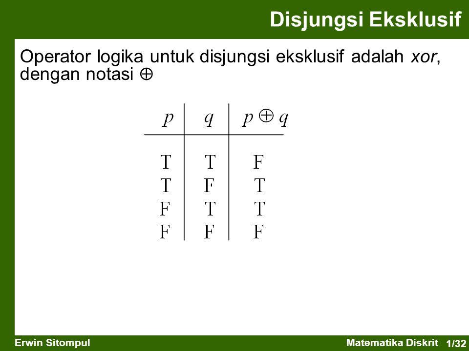 1/32 Erwin SitompulMatematika Diskrit Operator logika untuk disjungsi eksklusif adalah xor, dengan notasi  Disjungsi Eksklusif