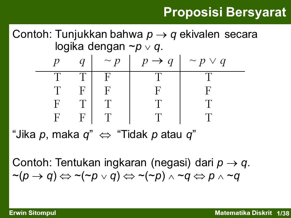 """1/38 Erwin SitompulMatematika Diskrit Proposisi Bersyarat Contoh: Tunjukkan bahwa p  q ekivalen secara logika dengan ~p  q. """"Jika p, maka q""""  """"Tida"""