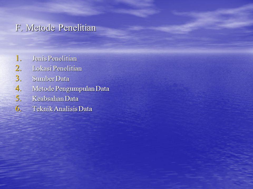 F. Metode Penelitian 1. Jenis Penelitian 2. Lokasi Penelitian 3. Sumber Data 4. Metode Pengumpulan Data 5. Keabsahan Data 6. Teknik Analisis Data