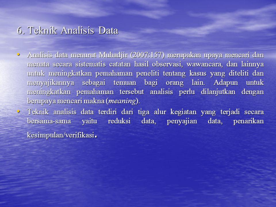 6. Teknik Analisis Data Analisis data menurut Muhadjir (2007:157) merupakan upaya mencari dan menata secara sistematis catatan hasil observasi, wawanc