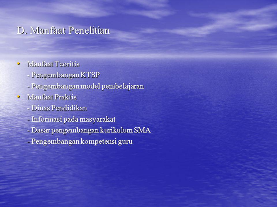 E.Kajian Teori 1. Kurikulum Tingkat Satuan Pendidikan (KTSP) 2.