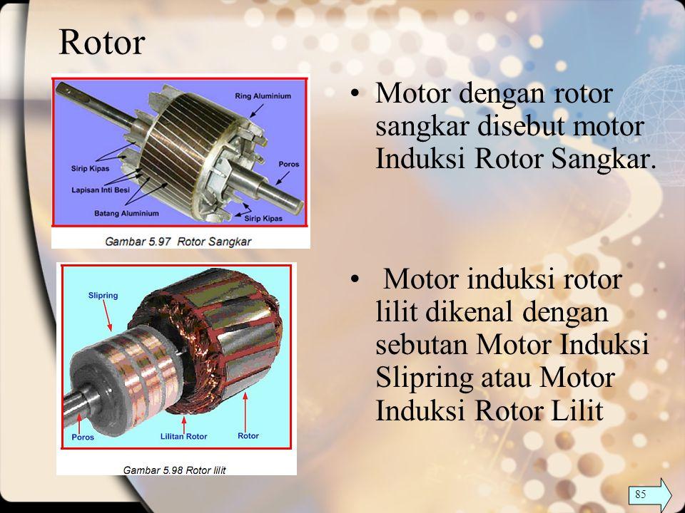 Rotor Motor dengan rotor sangkar disebut motor Induksi Rotor Sangkar. Motor induksi rotor lilit dikenal dengan sebutan Motor Induksi Slipring atau Mot