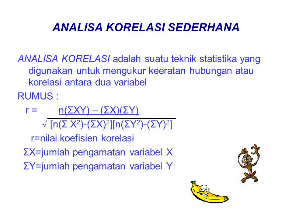 ANALISA KORELASI SEDERHANA ANALISA KORELASI adalah suatu teknik statistika yang digunakan untuk mengukur keeratan hubungan atau korelasi antara dua variabel RUMUS : r = n(ΣXY) – (ΣX)(ΣY) √ [n(Σ X 2 )-(ΣX) 2 ][n(ΣY 2 )-(ΣY) 2 ] r=nilai koefisien korelasi ΣX=jumlah pengamatan variabel X ΣY=jumlah pengamatan variabel Y
