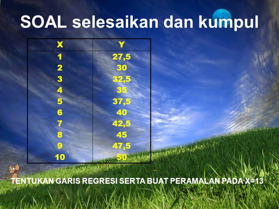 XY 1 2 3 4 5 6 7 8 9 10 27,5 30 32,5 35 37,5 40 42,5 45 47,5 50 SOAL selesaikan dan kumpul TENTUKAN GARIS REGRESI SERTA BUAT PERAMALAN PADA X=13