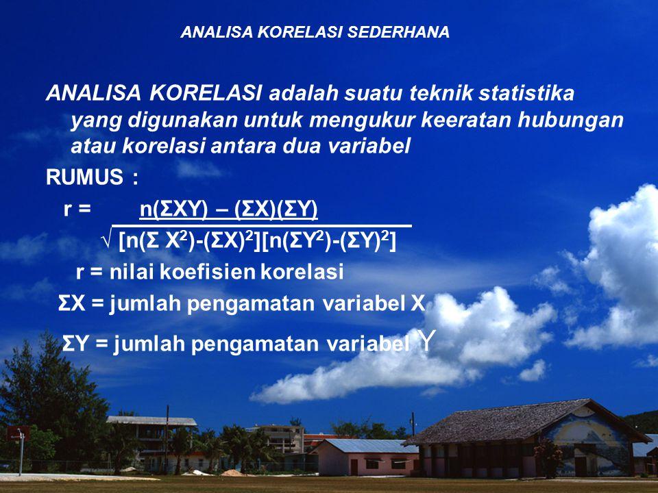 ANALISA KORELASI SEDERHANA ANALISA KORELASI adalah suatu teknik statistika yang digunakan untuk mengukur keeratan hubungan atau korelasi antara dua variabel RUMUS : r = n(ΣXY) – (ΣX)(ΣY) √ [n(Σ X 2 )-(ΣX) 2 ][n(ΣY 2 )-(ΣY) 2 ] r = nilai koefisien korelasi ΣX = jumlah pengamatan variabel X ΣY = jumlah pengamatan variabel Y