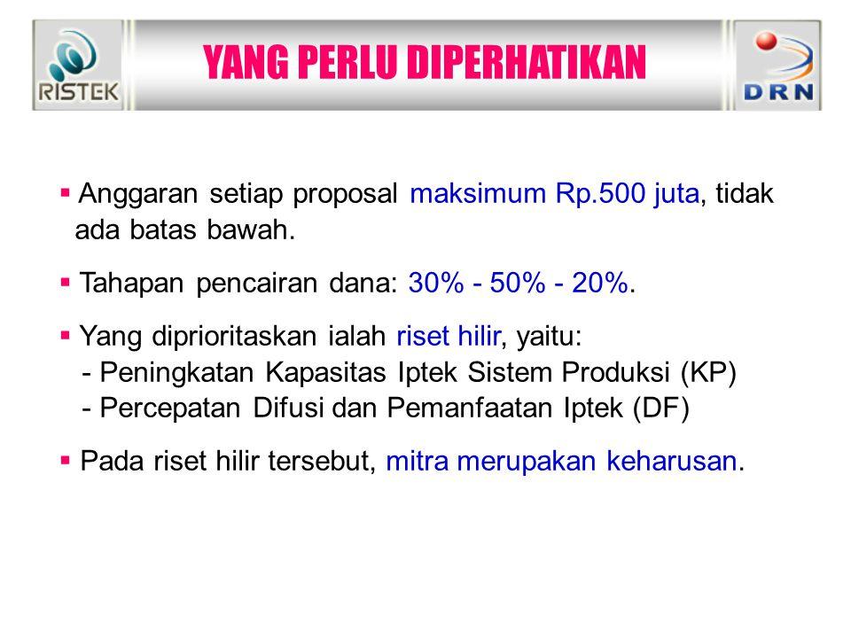 YANG PERLU DIPERHATIKAN  Anggaran setiap proposal maksimum Rp.500 juta, tidak ada batas bawah.  Tahapan pencairan dana: 30% - 50% - 20%.  Yang dipr
