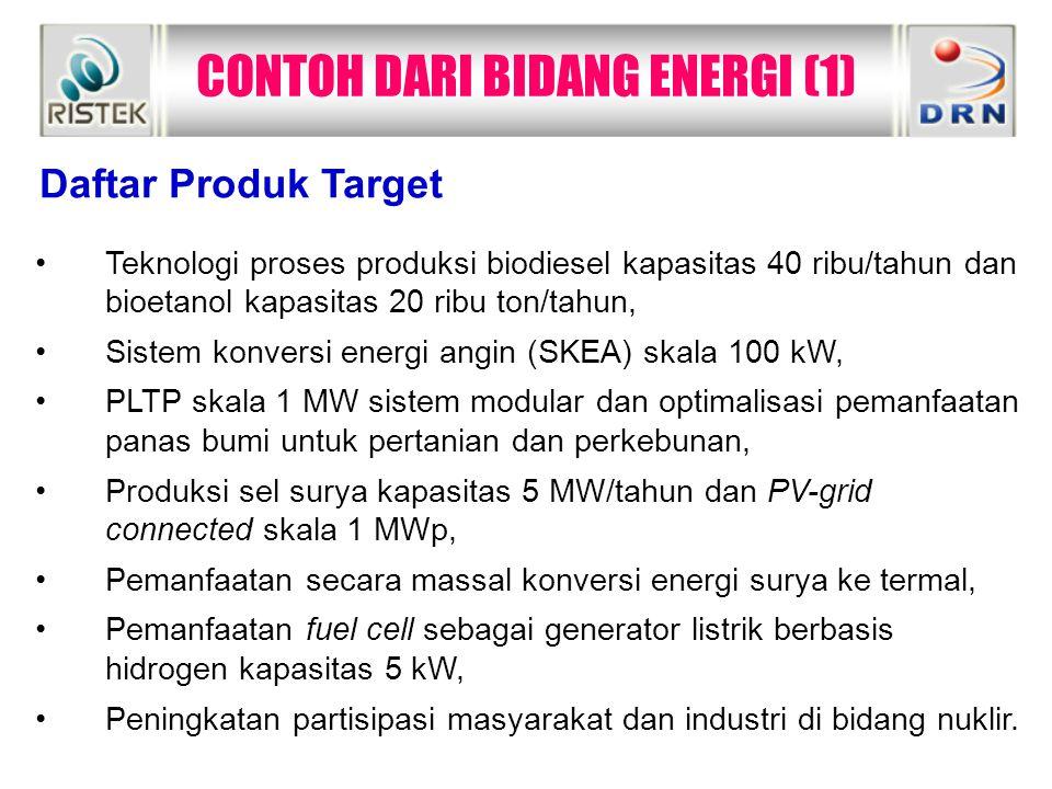 CONTOH DARI BIDANG ENERGI (1)  Teknologi proses produksi biodiesel kapasitas 40 ribu/tahun dan bioetanol kapasitas 20 ribu ton/tahun, Sistem konversi