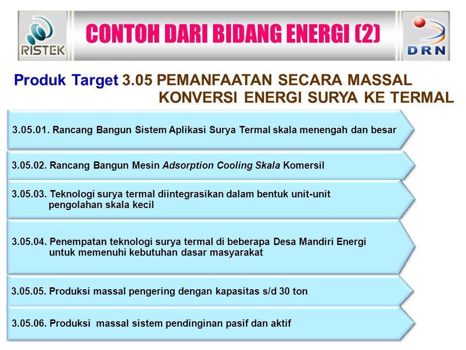 CONTOH DARI BIDANG ENERGI (2)  Produk Target 3.05 PEMANFAATAN SECARA MASSAL KONVERSI ENERGI SURYA KE TERMAL 3.05.01. Rancang Bangun Sistem Aplikasi S