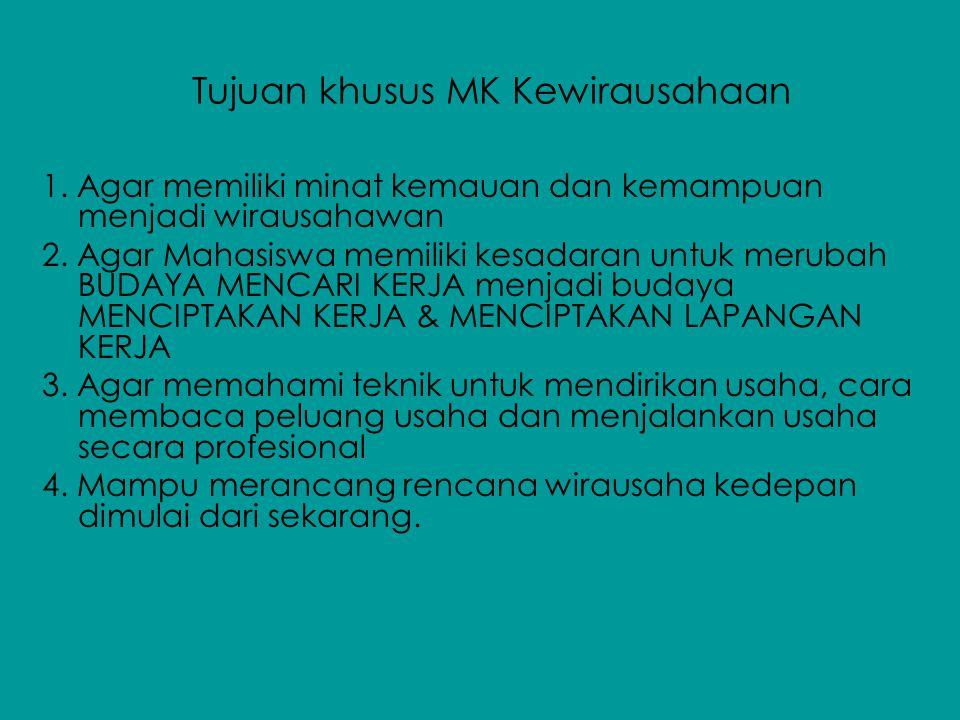 Tujuan khusus MK Kewirausahaan 1. Agar memiliki minat kemauan dan kemampuan menjadi wirausahawan 2. Agar Mahasiswa memiliki kesadaran untuk merubah BU