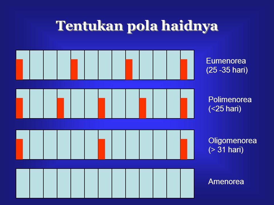 Tentukan pola haidnya Eumenorea (25 -35 hari) Polimenorea (<25 hari) Oligomenorea (> 31 hari) Amenorea