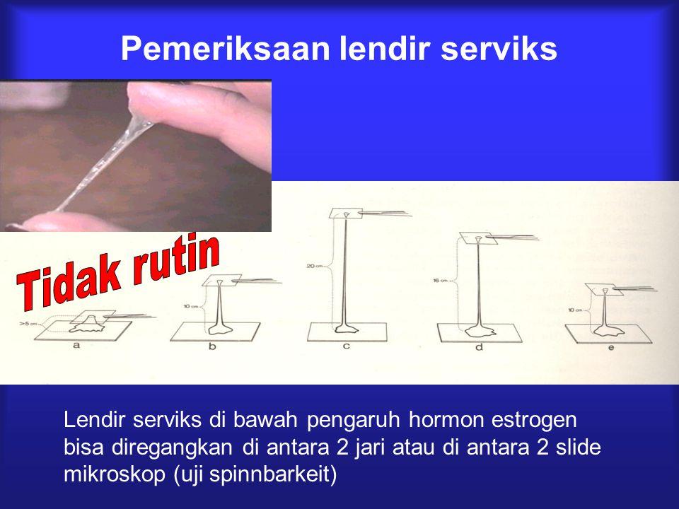 Pemeriksaan lendir serviks Lendir serviks di bawah pengaruh hormon estrogen bisa diregangkan di antara 2 jari atau di antara 2 slide mikroskop (uji sp