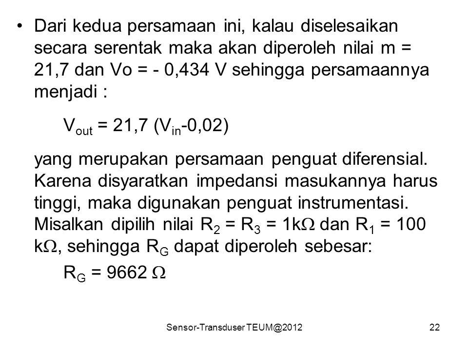 Sensor-Transduser TEUM@201222 Dari kedua persamaan ini, kalau diselesaikan secara serentak maka akan diperoleh nilai m = 21,7 dan Vo = - 0,434 V sehin