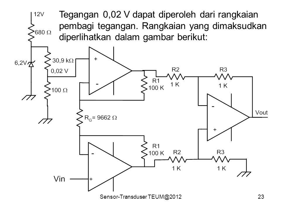 Sensor-Transduser TEUM@201223 Tegangan 0,02 V dapat diperoleh dari rangkaian pembagi tegangan. Rangkaian yang dimaksudkan diperlihatkan dalam gambar b