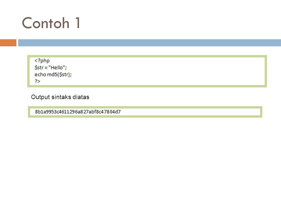 Contoh 1 Output sintaks diatas