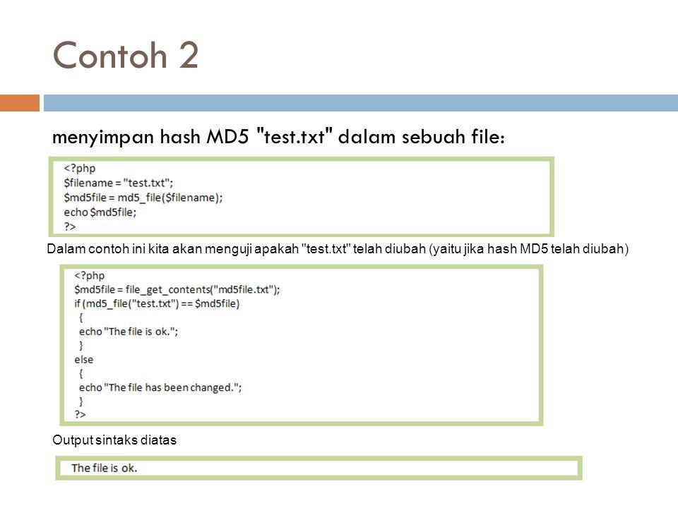 Contoh 2 menyimpan hash MD5
