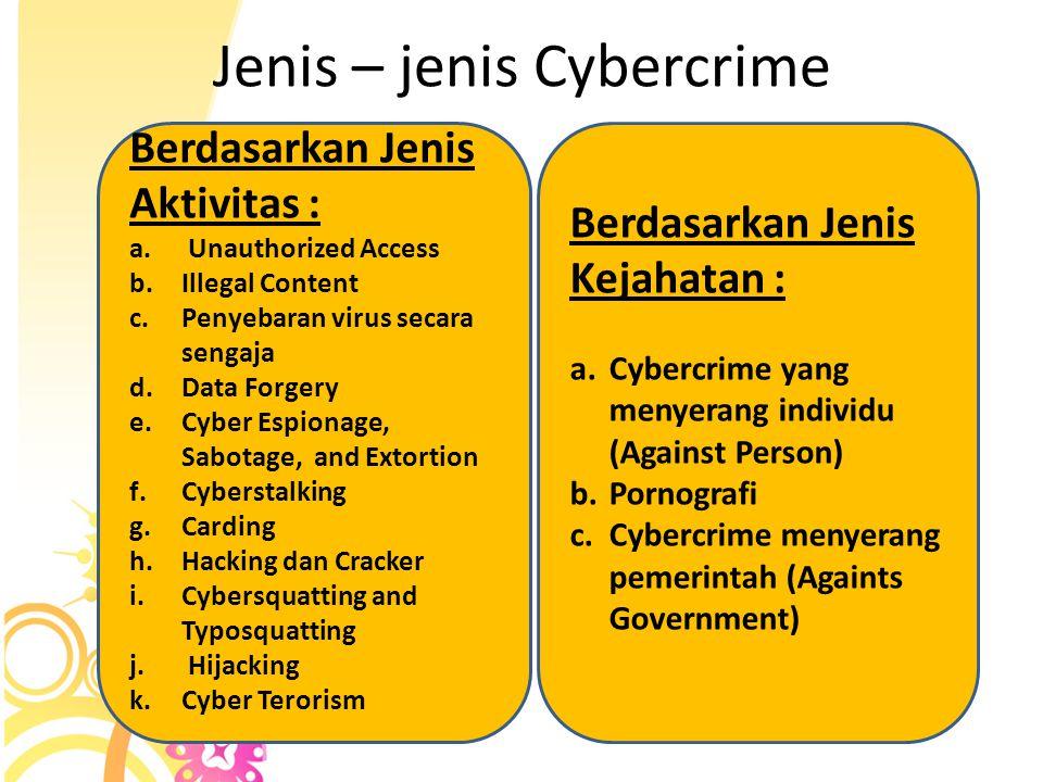 Karakteristik Cybercrime 1. Ruang Lingkup Kejahatan 2. Sifat Kejahatan 3. Pelaku Kejahatan 4. Modus Kejahatan 5. Jenis Kerugian yang ditimbulkan