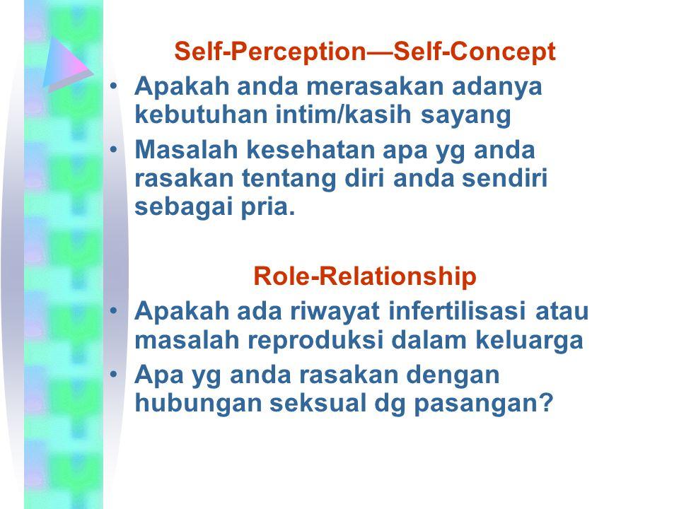 Self-Perception—Self-Concept Apakah anda merasakan adanya kebutuhan intim/kasih sayang Masalah kesehatan apa yg anda rasakan tentang diri anda sendiri