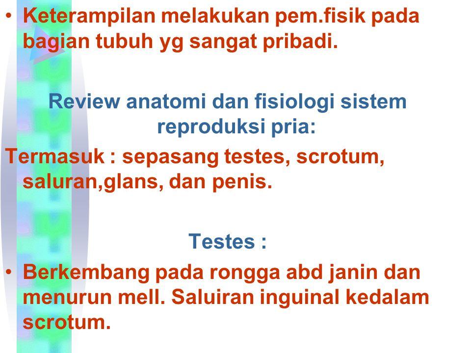 Keterampilan melakukan pem.fisik pada bagian tubuh yg sangat pribadi. Review anatomi dan fisiologi sistem reproduksi pria: Termasuk : sepasang testes,