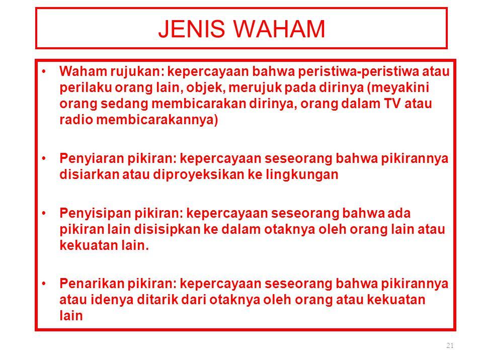 JENIS WAHAM Waham rujukan: kepercayaan bahwa peristiwa-peristiwa atau perilaku orang lain, objek, merujuk pada dirinya (meyakini orang sedang membicar