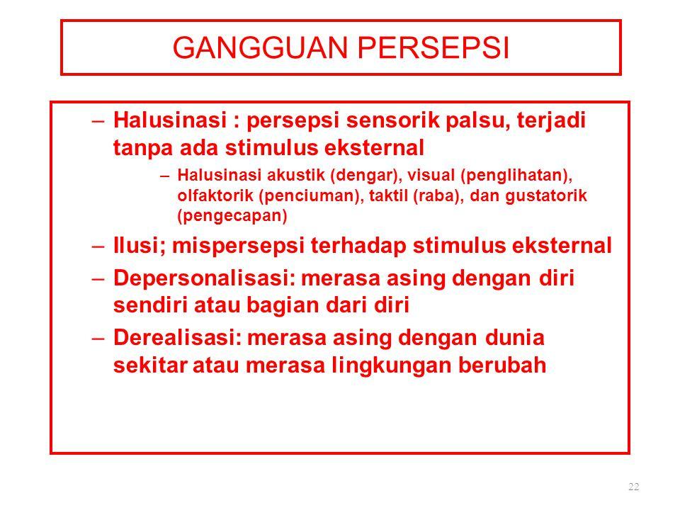 GANGGUAN PERSEPSI –Halusinasi : persepsi sensorik palsu, terjadi tanpa ada stimulus eksternal –Halusinasi akustik (dengar), visual (penglihatan), olfa
