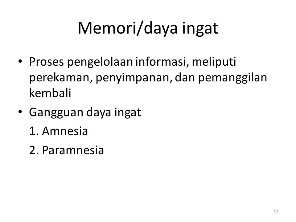 Memori/daya ingat Proses pengelolaan informasi, meliputi perekaman, penyimpanan, dan pemanggilan kembali Gangguan daya ingat 1. Amnesia 2. Paramnesia