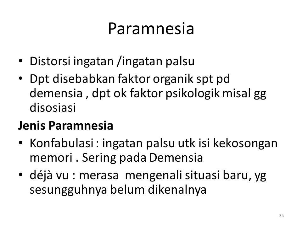 Paramnesia Distorsi ingatan /ingatan palsu Dpt disebabkan faktor organik spt pd demensia, dpt ok faktor psikologik misal gg disosiasi Jenis Paramnesia Konfabulasi : ingatan palsu utk isi kekosongan memori.