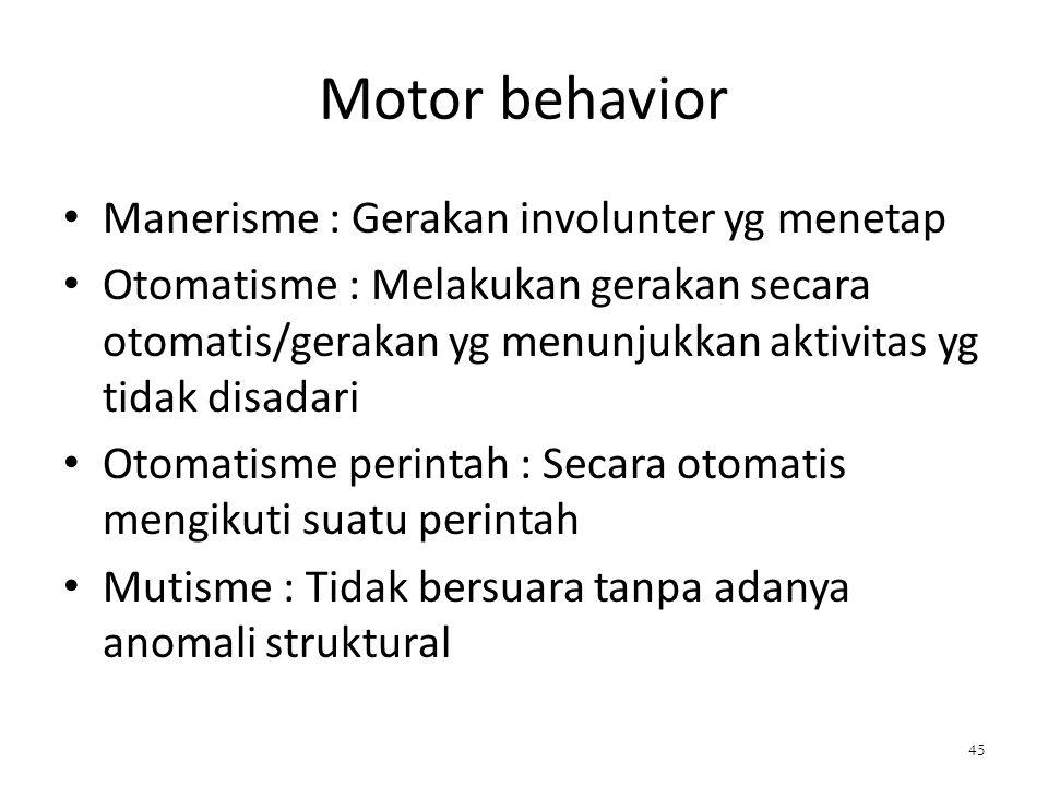 Motor behavior Manerisme : Gerakan involunter yg menetap Otomatisme : Melakukan gerakan secara otomatis/gerakan yg menunjukkan aktivitas yg tidak disadari Otomatisme perintah : Secara otomatis mengikuti suatu perintah Mutisme : Tidak bersuara tanpa adanya anomali struktural 45