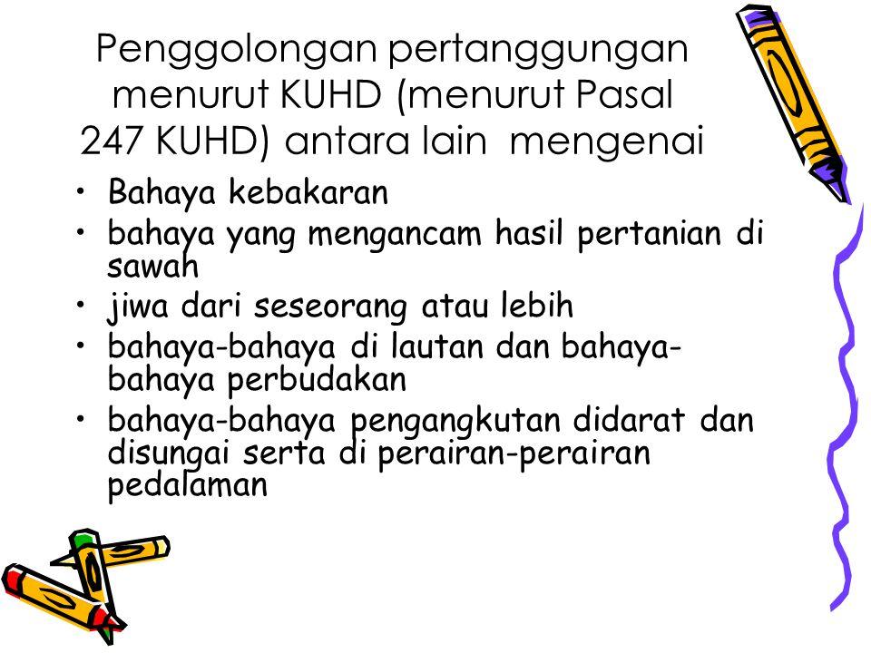 Penggolongan pertanggungan menurut KUHD (menurut Pasal 247 KUHD) antara lain mengenai Bahaya kebakaran bahaya yang mengancam hasil pertanian di sawah