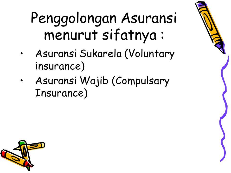 Penggolongan Asuransi menurut sifatnya : Asuransi Sukarela (Voluntary insurance) Asuransi Wajib (Compulsary Insurance)
