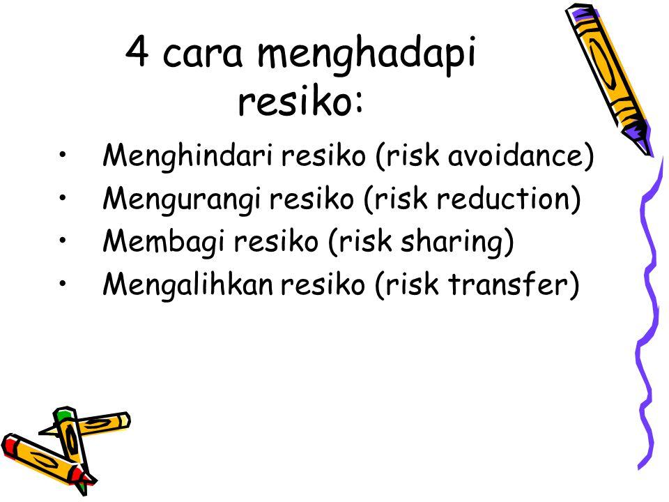 4 cara menghadapi resiko: Menghindari resiko (risk avoidance) Mengurangi resiko (risk reduction) Membagi resiko (risk sharing) Mengalihkan resiko (ris