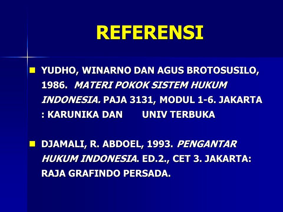 REFERENSI YUDHO, WINARNO DAN AGUS BROTOSUSILO, 1986. MATERI POKOK SISTEM HUKUM INDONESIA. PAJA 3131, MODUL 1-6. JAKARTA : KARUNIKA DAN UNIV TERBUKA YU