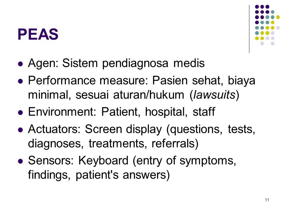 11 PEAS Agen: Sistem pendiagnosa medis Performance measure: Pasien sehat, biaya minimal, sesuai aturan/hukum (lawsuits) Environment: Patient, hospital, staff Actuators: Screen display (questions, tests, diagnoses, treatments, referrals) Sensors: Keyboard (entry of symptoms, findings, patient s answers)