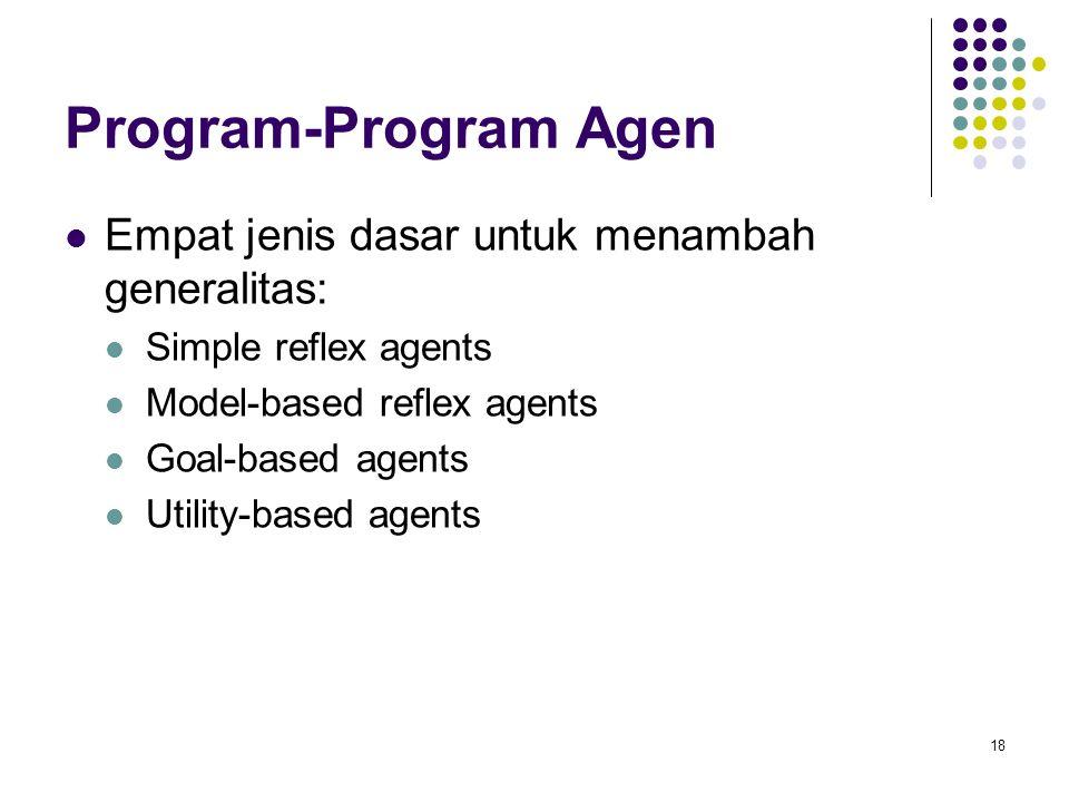 18 Program-Program Agen Empat jenis dasar untuk menambah generalitas: Simple reflex agents Model-based reflex agents Goal-based agents Utility-based agents