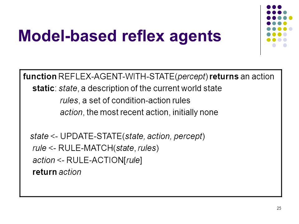 25 Model-based reflex agents function REFLEX-AGENT-WITH-STATE(percept) returns an action static: state, a description of the current world state rules, a set of condition-action rules action, the most recent action, initially none state <- UPDATE-STATE(state, action, percept) rule <- RULE-MATCH(state, rules) action <- RULE-ACTION[rule] return action