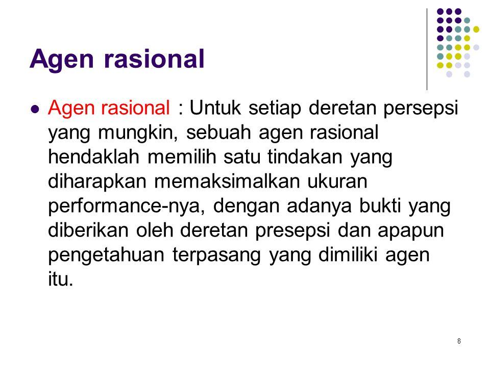8 Agen rasional Agen rasional : Untuk setiap deretan persepsi yang mungkin, sebuah agen rasional hendaklah memilih satu tindakan yang diharapkan memak