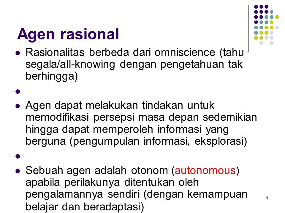 9 Agen rasional Rasionalitas berbeda dari omniscience (tahu segala/all-knowing dengan pengetahuan tak berhingga) Agen dapat melakukan tindakan untuk m