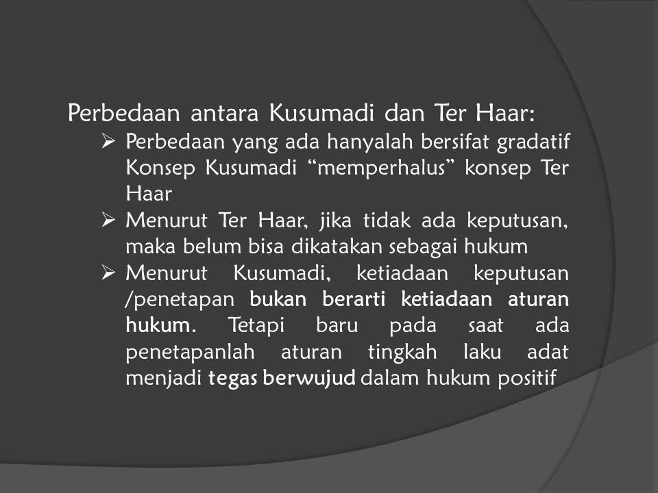 """Perbedaan antara Kusumadi dan Ter Haar:  Perbedaan yang ada hanyalah bersifat gradatif Konsep Kusumadi """"memperhalus"""" konsep Ter Haar  Menurut Ter Ha"""